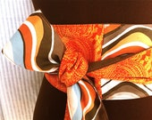 SALE  Reversible Obi Orange, Brown and Light Blue Waves, Wrap belt