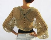 Natural Beige, COTTON SHRUG  ....Elegant Hand Knitted Summer Shrug