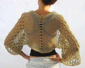 Natural Beige, COTTON SHRUG  ....Elegant Hand Knitted Summer Shrug