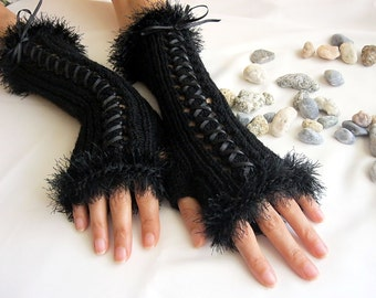 BLACK  LONG Fingerless Gloves, Wool Women Mittens, Arm Warmers , Hand Knitted, eco friendly,Cyber Monday etsy