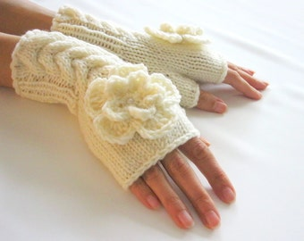 IVORY Fingerless Gloves, Merino Wool Mittens, Arm Warmers with cable pattern and crochet flowers, Hand Knitted, Eco Friendly
