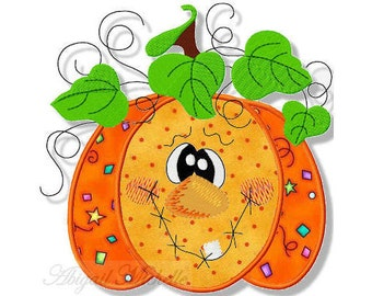 Fun Pumpkin Applique, 3 Sizes - Machine Embroidery