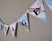Bon Voyage or personalised message Recycled Map  Bunting/Garland - party decoration