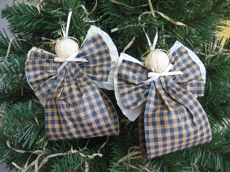 Angel Christmas Ornaments Blue and Kraft Plaid Paper Ribbon