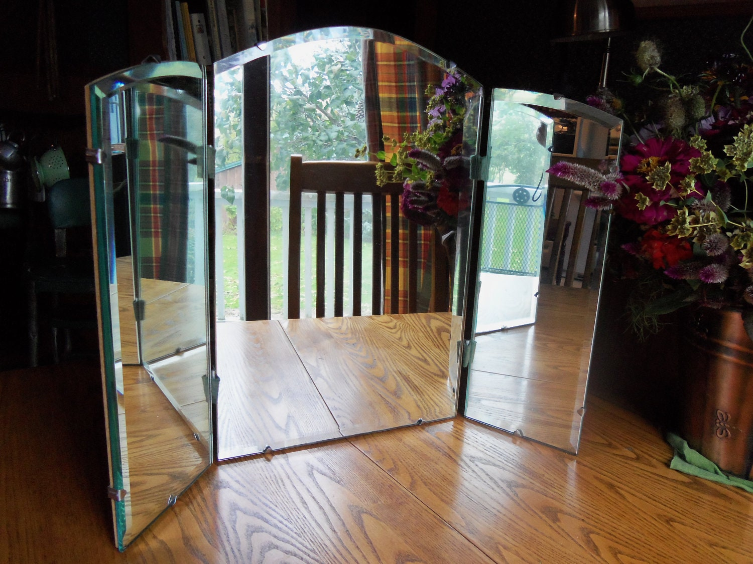 Vintage Tri Fold Three Way Mirror Table Top Or Hanging Beveled
