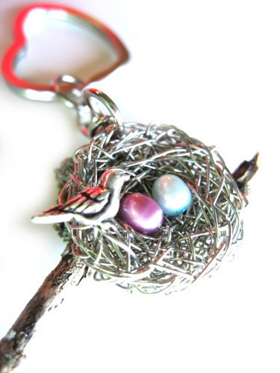 Mother Keychain - Birds Nest, Personalized Family Accessories