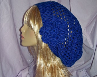Royal Blue Crochet Slouchy Hat with Removable Flower - FREE SHIPPING to US and Canada