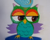 Handpainted Wooden Folk Art Owl Decorative Object, Original Ornament