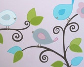 Pink and Aqua Nursery Art - Happy Birds, hand painted acrylic on canvas, MADE TO ORDER