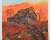 Original Oil Painting Rustic Farm