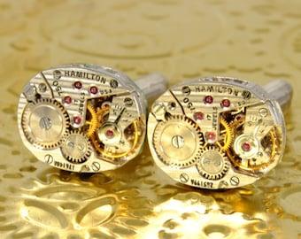 AWESOME Wedding Cufflinks STRIPED HAMILTON 750 Groom Steampunk Watch Cuff Links Mens Cuff Links Steampunk Jewelry by Victorian Curiosities