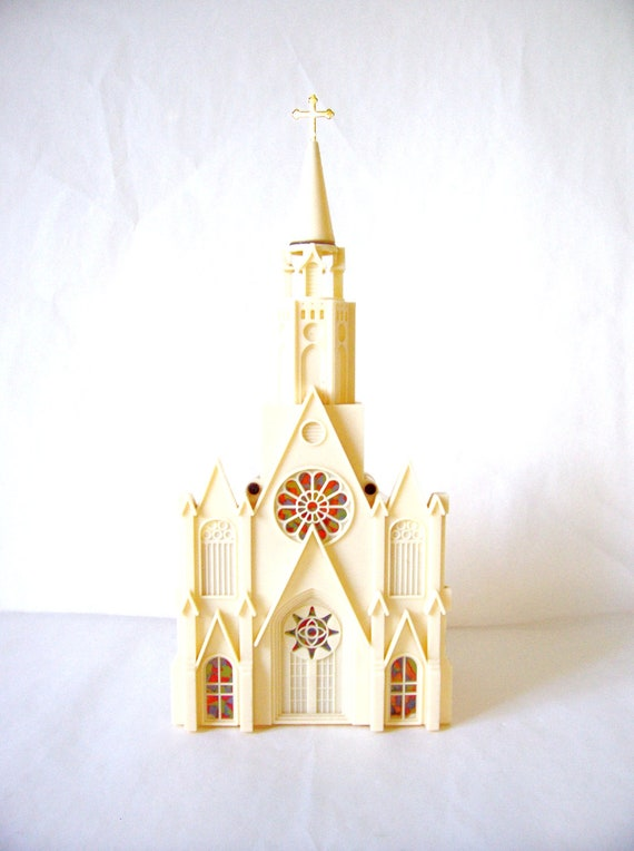 Vintage Musical Lighted Christmas Church By Raylite Electrical