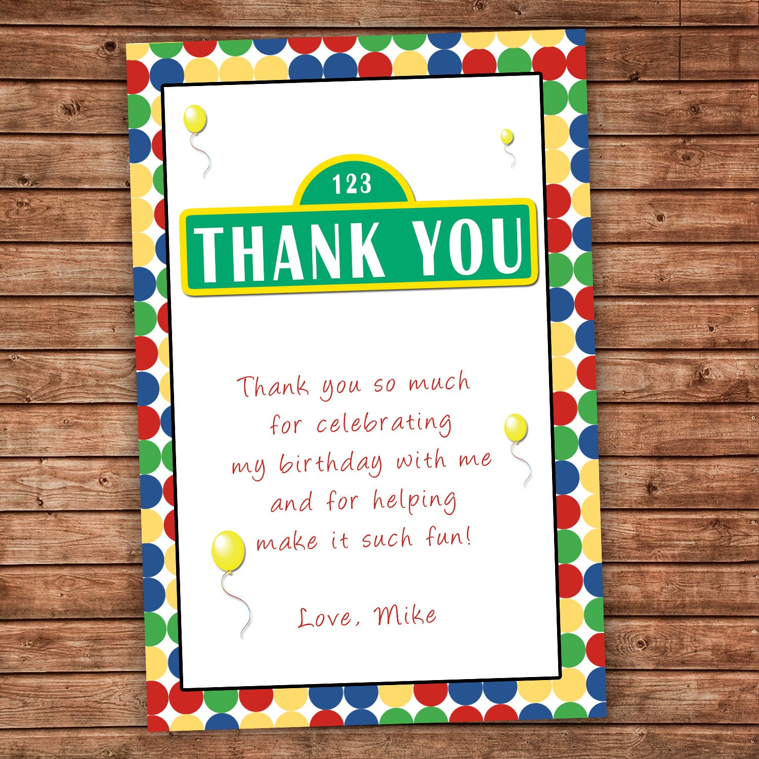 Personalized Any Wording Thank you Card Polka Dots Birthday