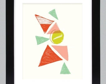 Mid Century Modern Mountain Art Print // Gifts under 25