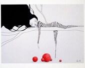 "Clown Girl ""Sleepy Head"" 8.5 x 11 print"