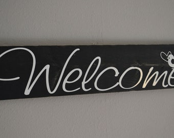 Distressed Welcome Wall Hanging Black and White