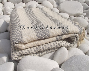 Turkishtowel-Highest Quality Pure Organic Cotton,Hand Woven,Bath,Beach,Spa,Yoga Towel or Sarong-Mathing-Natural Cream,White and Pastel Grey