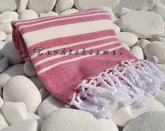 Turkishtowel-Soft-High Quality,Hand Woven,Cotton Bath,Beach,Pool,Spa,Yoga,Travel Towel or Sarong-Ivory Stripes on Pastel Red