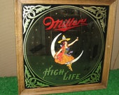 Vintage Miller High Life Halloween Beer Mirror Sign - Oktoberfest - Witch