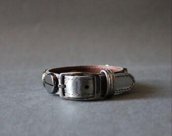 French Stud Leather Bracelet-Medium Size (METALLIC GREY)
