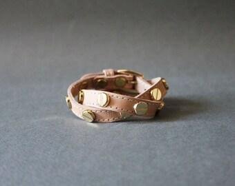 Screw Stud Ornament Leather Bracelet(Nude)