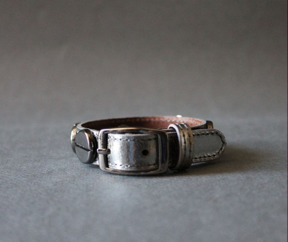 French Stud Leather Bracelet-Medium Size (METALLIC GREY)