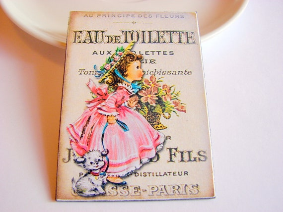 Eau de Toilette Pin - Little Girl in a Pink Dress with Her Puppy Dog - Paper and Chipboard Decoupage Brooch - Retro Old Fashioned Child