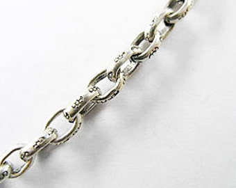 9 inches of Karen Hill Tribe Silver Imprint Opened Link Chain 3x5 mm. :ka3205