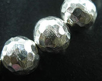 2 of Karen Hill Tribe Silver Hammered Round Beads 12 mm. :ka3224