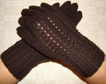 Women gloves- hand knitted, warm, soft, brown