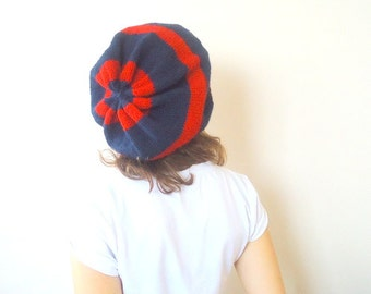 Knitted Slouchy Beanie,DARK BLUE and RED ,striped ,indigo Autumn Winter Fall Fashion Ready to ship