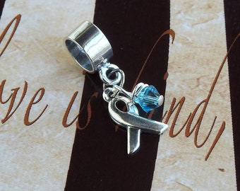Sterling Silver Prostate Cancer, Thyroid Disease, Scleroderma  Awareness Charm Bead, European Style