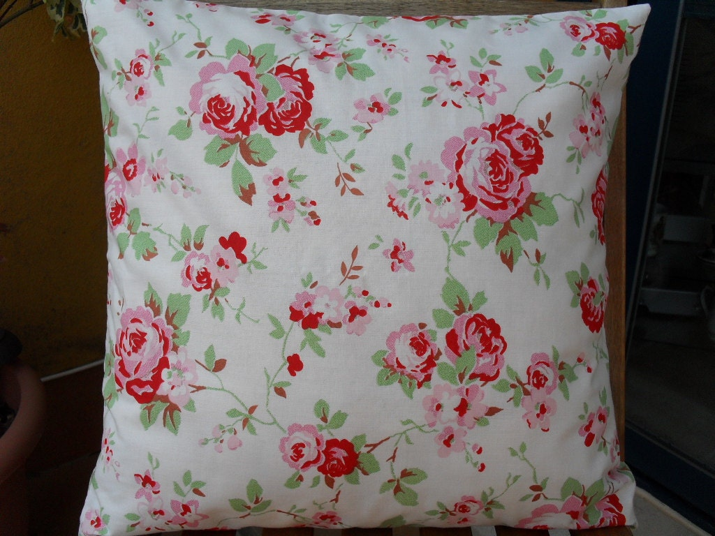 cath kidston ikea rosali floral check fabric cushion cover. Black Bedroom Furniture Sets. Home Design Ideas