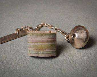 Vintage silver plated tie pin, embellished with jasper gemstone.