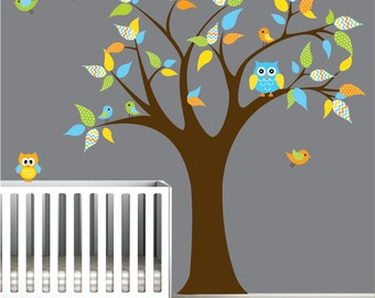 Children Wall Decals Nursery Tree Decal with Pattern Leaves Owls Birds