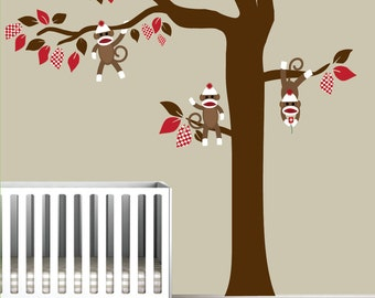 Nursery Vinyl Wall Decal tree with sock monkeys-wall decals-e54