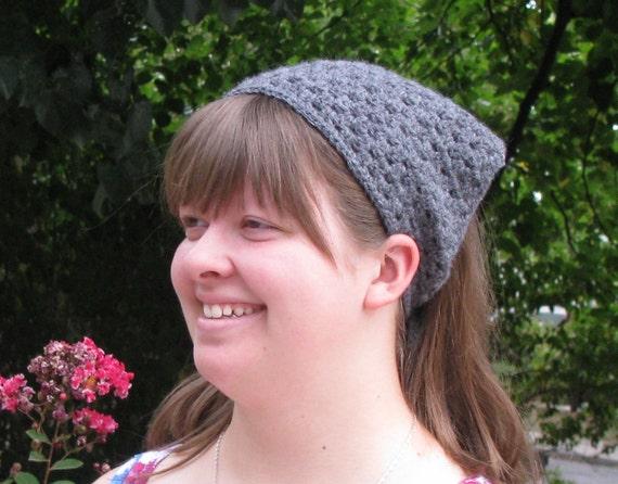 Handmade Crochet Gray Head Kerchief Headscarf with Ties