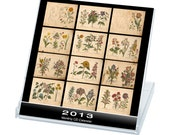 FLORALIS, Flowers of yesteryear - Calendar 2013 - Digital collage sheet - 12 Months CD Desk - Printable download - See promo offer