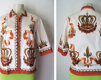 vtg 50s-60s Women's BLOUSE with JEWELLED CROWNS - 34
