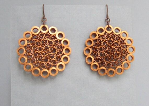 Quilling Earrings, Metallic Copper on Copper Paper