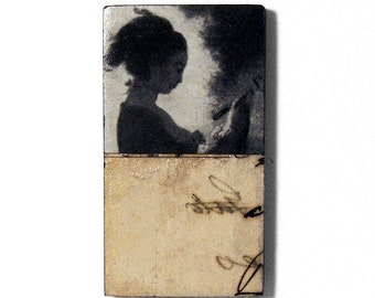 romantic art - The Love Letter - original collage art, fridge magnet, unique kitchen decor