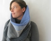 Wool Snood Infinity Scarf Reversible Cowl - Blue Cream and Gray Texture : Upcycled Recycled Repurposed Fall Fashion