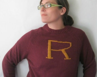 Custom Ron Weasley Sweater - Harry Potter Sweater  made just for you - Your initial on a sweater - Monogram