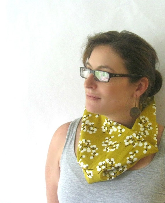 Willow Branch Cowl Scarf in Mustard Brown and Cream Designer Print Eclectic Infinity Scarf