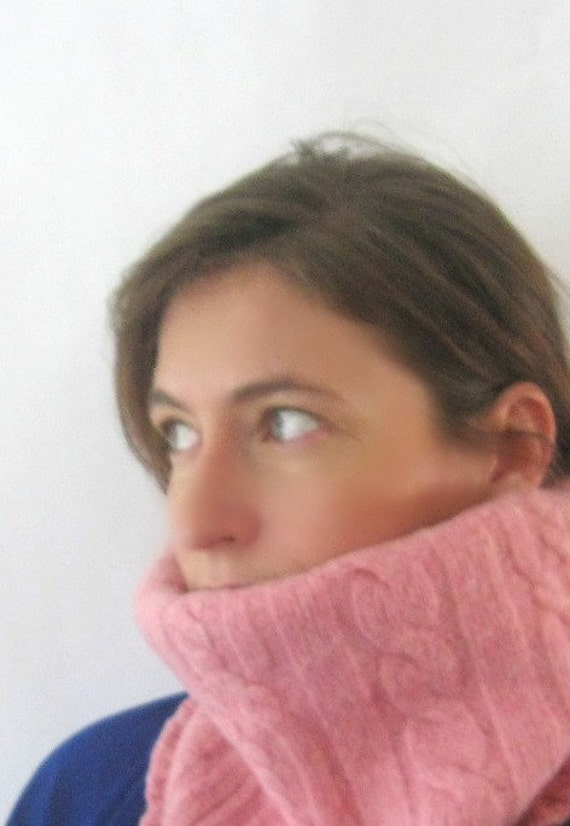 Wool Cowl Neck Scarf Skiing Snowboarding Gear - Soft Pink Cables : Upcycled Recycled Repurposed Wool Spring Fashion Fall Fashion