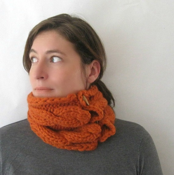 RESERVED FOR CRIS: Rust Knit Cowl Neck Scarf in Merino Wool Chunky Handknit in Burnt Orange
