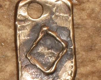 RUNES.Elder Futhark Rune of Male Fertility INGWAZ/ING.Bronze Rune Pendant.Organic Texture.Magical Rune.Magical Amulet.Viking Runes