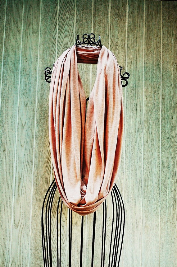 Champagne Pink Ribbed Long and Wide JERSEY INFINITY-Eternity Scarf-Scarf Cowl-Circle Loop Scarf by The Accessories Nook