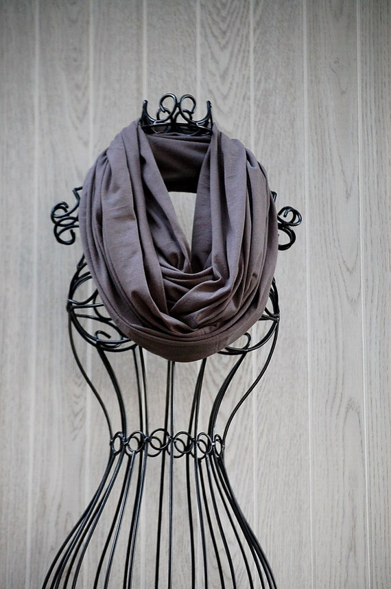 Charcoal Grey Extra Wide Unisex Jersey INFINITY SCARF-Circle Loop Scarf-Scarf Cowl- Eternity Scarf by The Accessories Nook