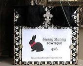 Black / Cream Fleur de Lis Wood Frame with Black / Diamond Bow